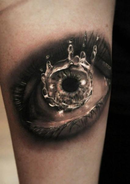Water Drop Eye Realiistic tattoo by Georgi Kodzhabashev