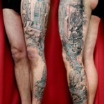 Water Mill Leg tattoo by Skin Deep Art