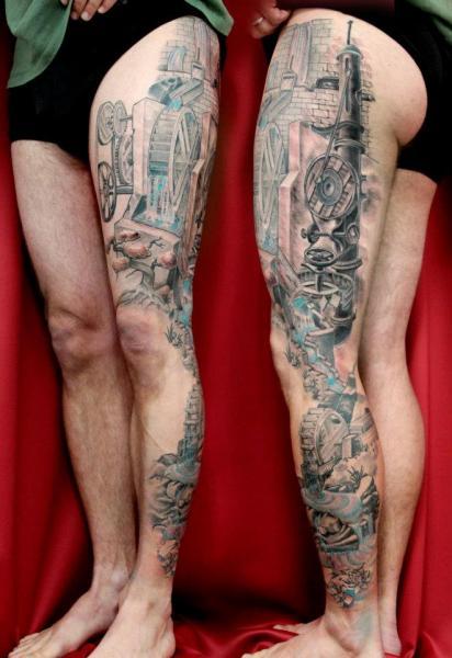 Water Mill Leg tattoo by Skin Deep Art