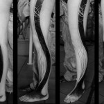 Wave Shaped Abstract Line Blackwork tattoo on Leg