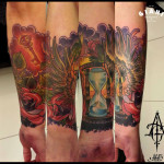 Wings Feather Hourglass tattoo by Agat Artemji