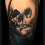Woman Near Mirror Skull tattoo by Jack Gallowtree