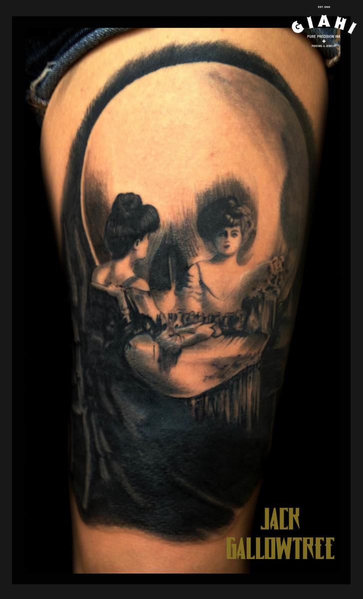 Woman Near Mirror Skull tattoo by Jack Gallowtree
