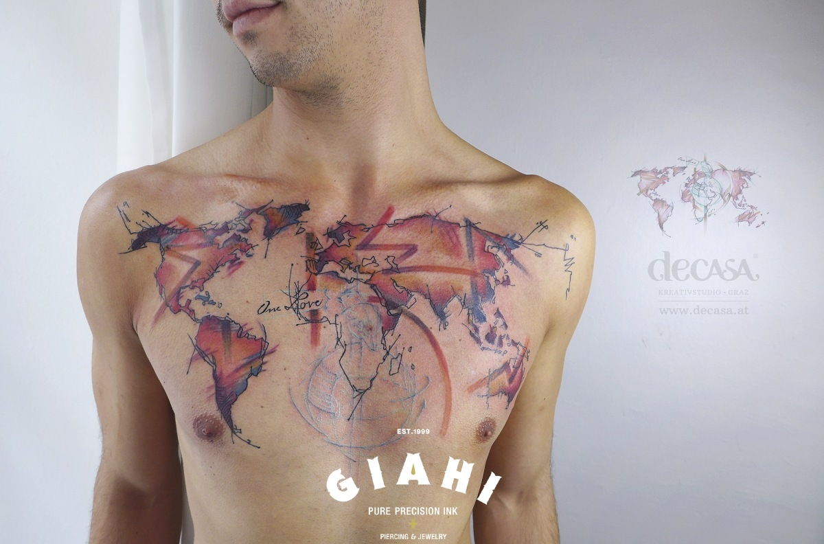 World map tattoo on chest by carola deutsch best tattoo ideas world map tattoo on chest by carola deutsch gumiabroncs Image collections