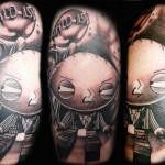 World is Y Gangster Blackwork Stewie Griffin tattoo by Transcend Tattoo