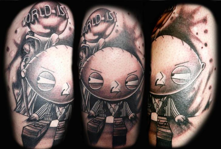 World is Y Gangster Stewie Griffin Blackwork tattoo by Transcend Tattoo