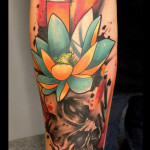 Yellow Blue Lotus Skull tattoo by Live Two