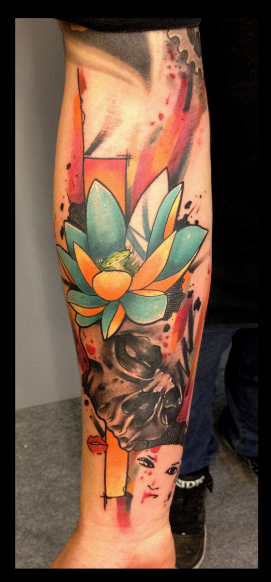 Yellow Blue Lotus Skull Tattoo By Live Two Best Tattoo Ideas Gallery