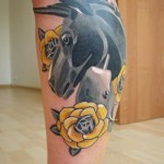 Yellow Flowers Donkey tattoo by Sasha Unisex