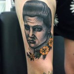 Yellow Flowers Sad Elvis New School tattoo by Matt Cooley