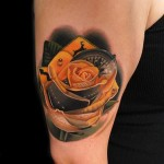 Yellow Road Trip Rose tattoo by Andres Acosta