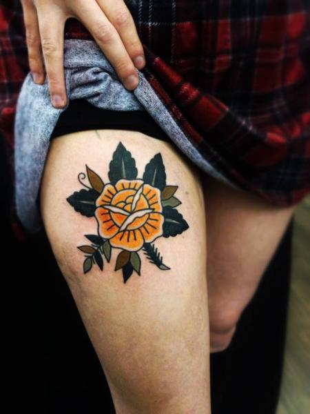 Yellow flowers sad elvis new school tattoo by matt cooley best yellow rose with leaves old school tattoo by matt cooley mightylinksfo