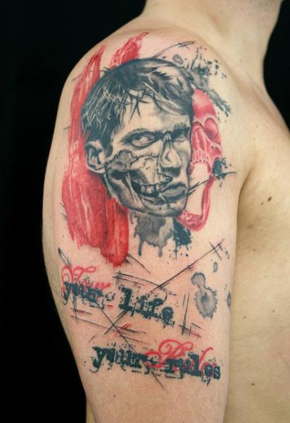 Your life your rules trash polka zombie tattoo by skin for Zombie tattoo machine