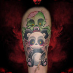 Zombie and Panda New School tattoo by Hellyeah Tattoos