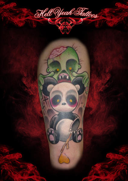 Zmbie and Panda New School tattoo by Hellyeah Tattoos