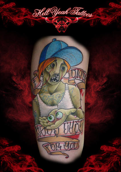 Zombie Eyes in Hand NEw School tattoo by Hellyeah Tattoos