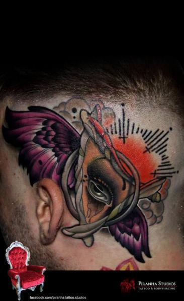Abstract Eye New School Head tattoo by Piranha Tattoo Supplies