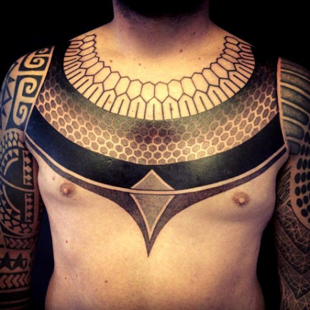 Collar Ethnic Blackwork tattoo