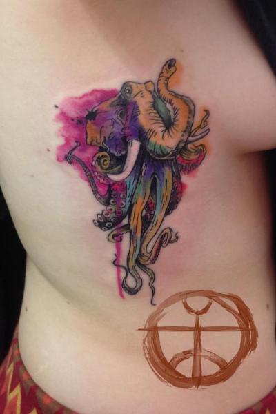 Octopus Elephant Aqurelle tattoo by Galata Tattoo