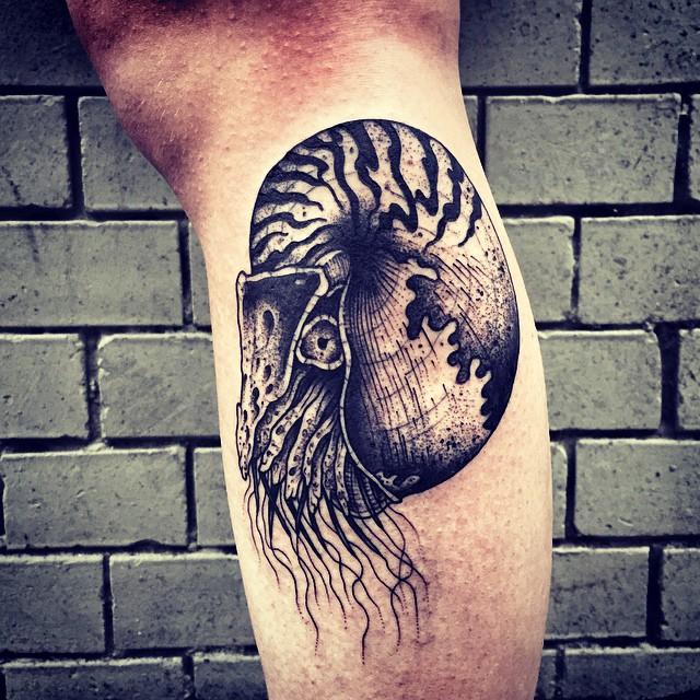 Ammonite Ancient Shell Arm tattoo by Bullet BG