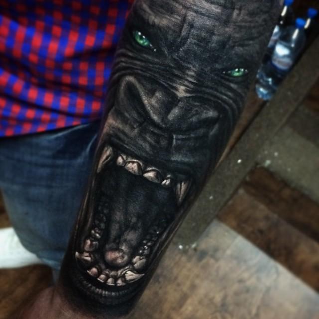 Angry Growling Ape tattoo on Arm