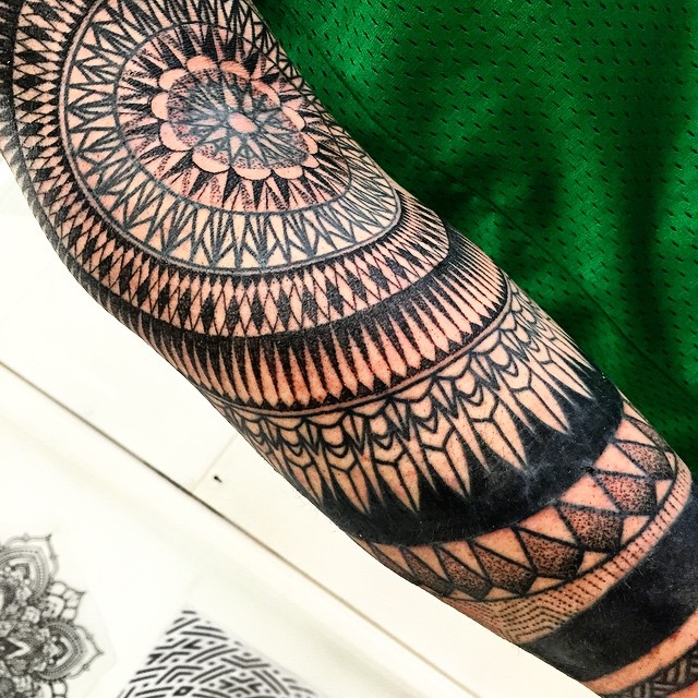 Arm Elbow Circles Blackwork tattoo