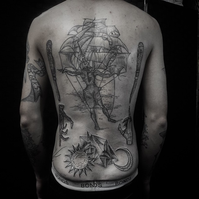 Back Etching Nautical tattoo