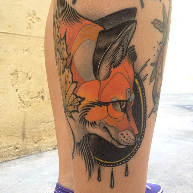 Baroque Frame Fox tattoo by Jef Small