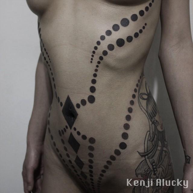 Black Dots and Rhombuses Blackwork Stomach tattoo by Kenji Alucky