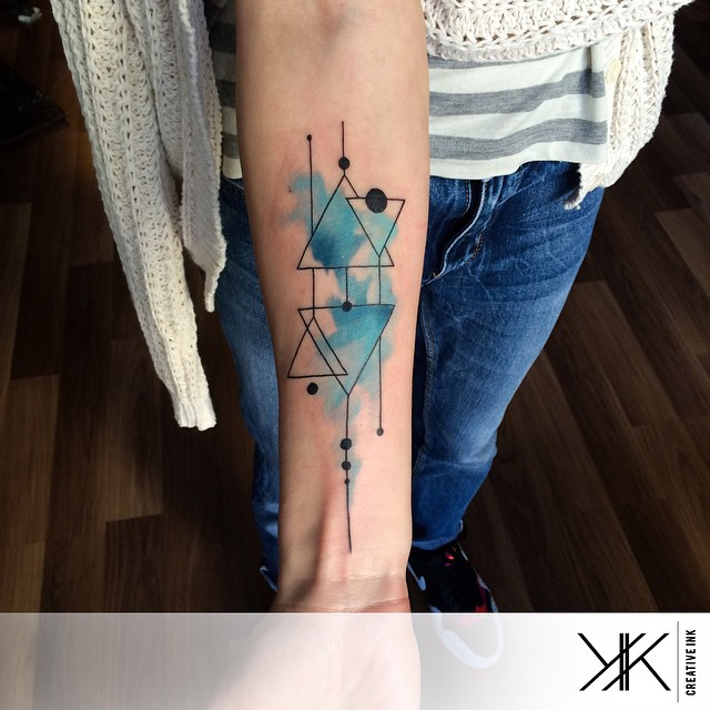 Blue Arm Geometry tattoo