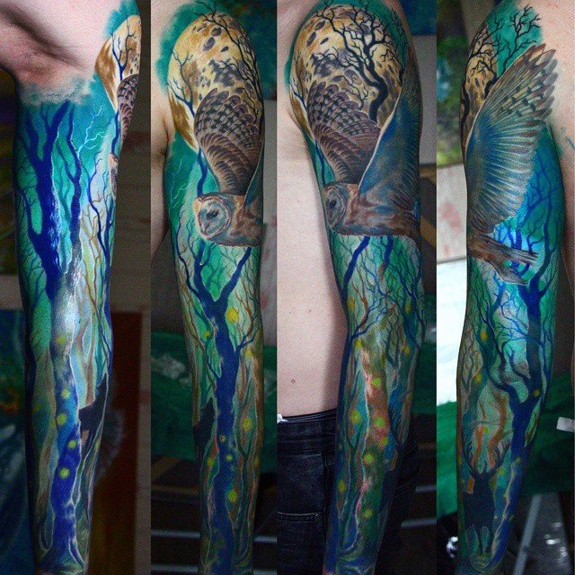 Blue Night Wood Tattoo Sleeve Best Tattoo Ideas Gallery