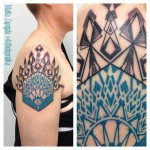 Blue and Black Geometry Shoulder tattoo by Maïka Zayagata