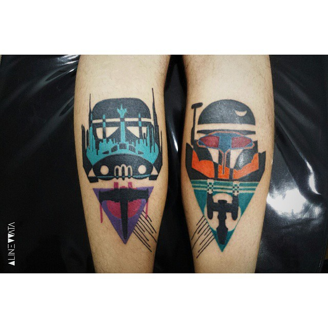 Bounty Hunters Star Wars Leg tattoos