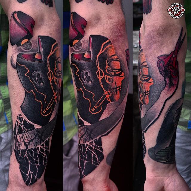 Brain Core Arm tattoo by Łukasz Sokołowsk