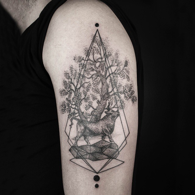 Bull Tree Dotwork tattoo on Sholder