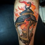 Candle Lantern New School Leg tattoo by Victor Chil