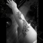 Chaos Triangles Dotwork Arm tattoo by Katia Somerville