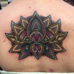 Color Lotus Cover Up Back tattoo