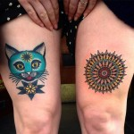 Cool Cat Thigh Tattoo