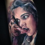 Creepy Maniac on The Phone Realistic tattoo by Paul Acker