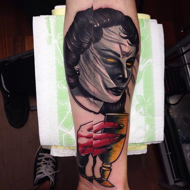 Dark Demonic Girl Arm tattoo