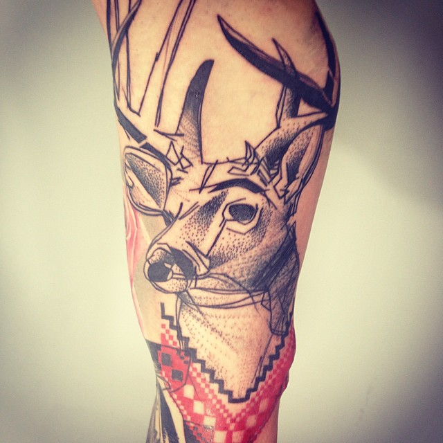 Deer Dotwork tattoo by Timur Lysenko