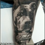 Diabolo Dog Realistic tattoo