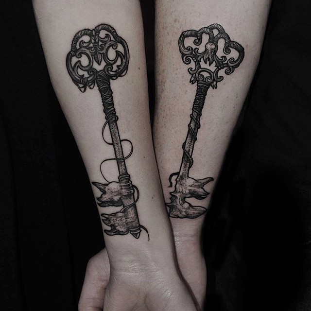 Dotwork Tooth Keys Tattoos for Couple