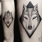 Dotwork Wolf tattoo