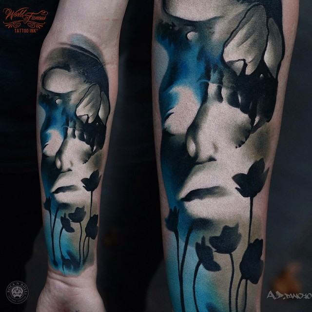 Dual Face Skull on Arm