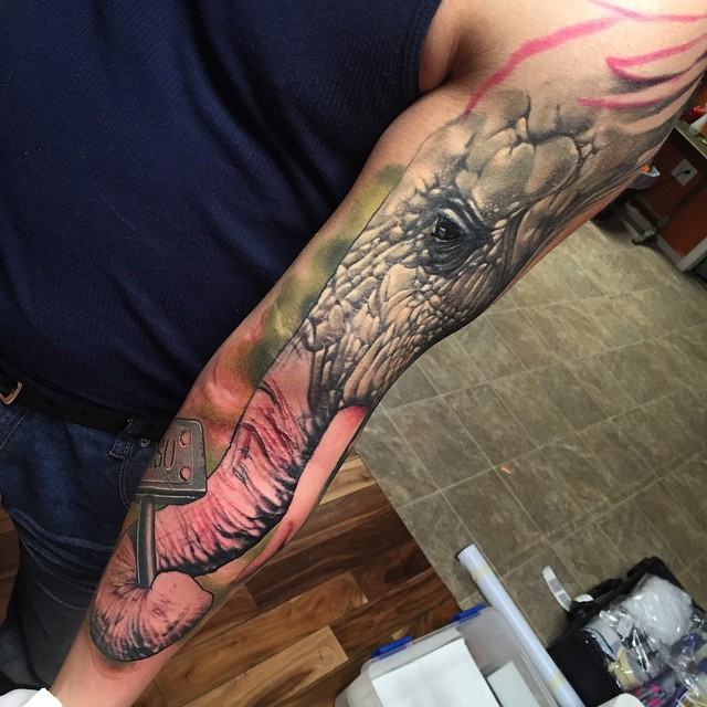 Elephant Realistic Tattoo Sleeve