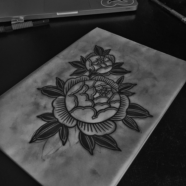 Etching Flowers Tattoo Idea by Kolahari