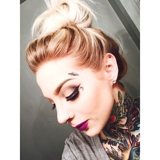 Face Small tattoo and Old School Neck tattoos on Madison Skye
