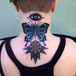 Flower Eye and Butterfly Neck tattoo